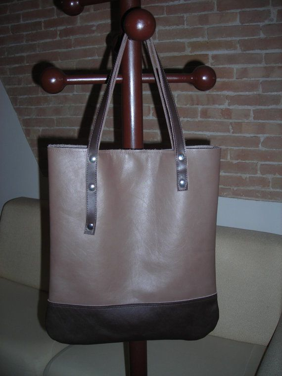 leather shopper bag Tan and Brown by BagsbyMaCo on Etsy