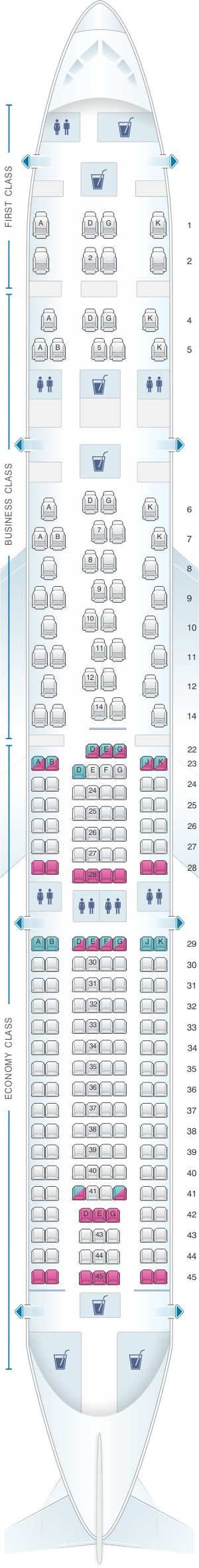 Seat Map SWISS Airbus A330 300