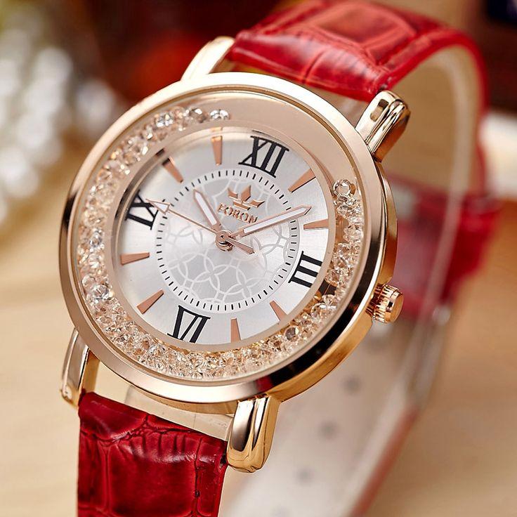Купить товарДамы Мода Кварцевые Часы Женщины Rhinestone Кожаный Вскользь…