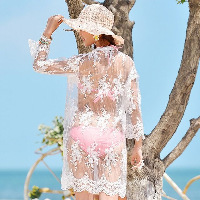 kore prenses tatlı dantel kazak beach bikini plaj seksi kazak bluz uzun kollu mikrolens
