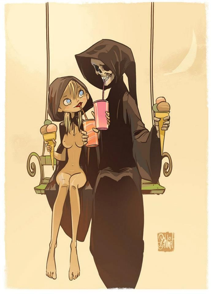 Death & Maiden - by Otto Schmidt.  Death grim reaper Father Time scythe maiden girl woman dance danse macabre skull skeleton
