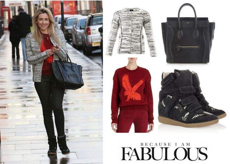 Shop Celebrity Closet: Gemma Merna Stella McCartney Diamond Quilted Eagle Embroidered Sweater, Imperia Jacket, Printed Canvas Suede Wedge Sneakers & Celine Boston Bag - http://www.becauseiamfabulous.com/2014/01/gemma-merna-stella-mccartney-diamond-quilted-eagle-embroidered-sweater-imperia-jacket-printed-canvas-suede-wedge-sneakers-celine-boston-bag/