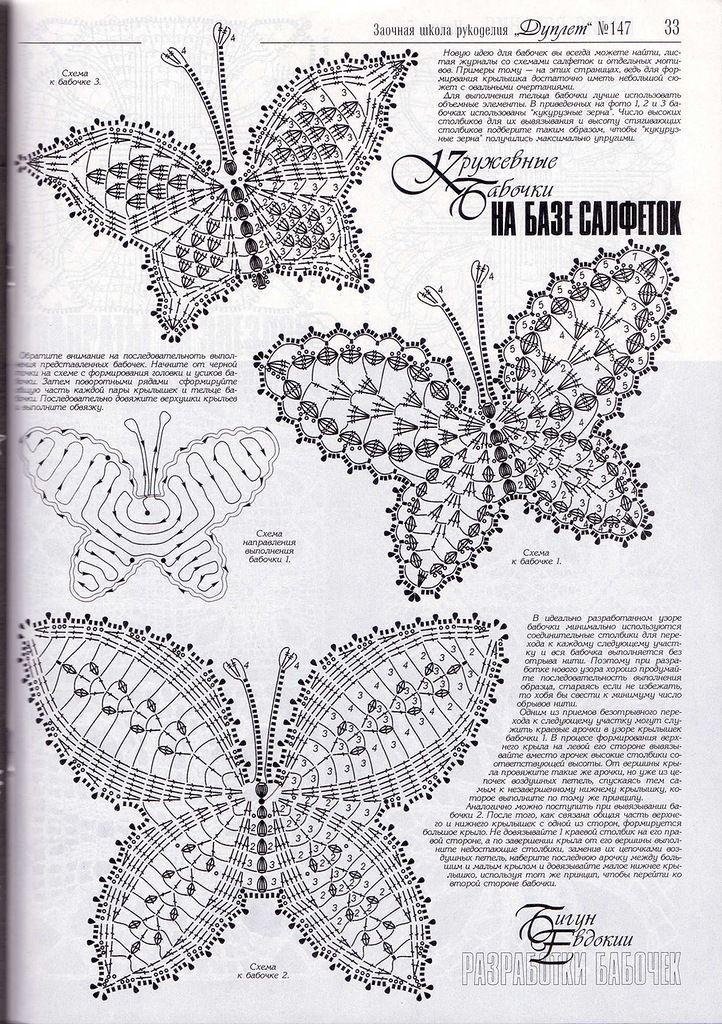 40 best Schmetterlinge images on Pinterest | Häkelmotiv, Häkeln ...