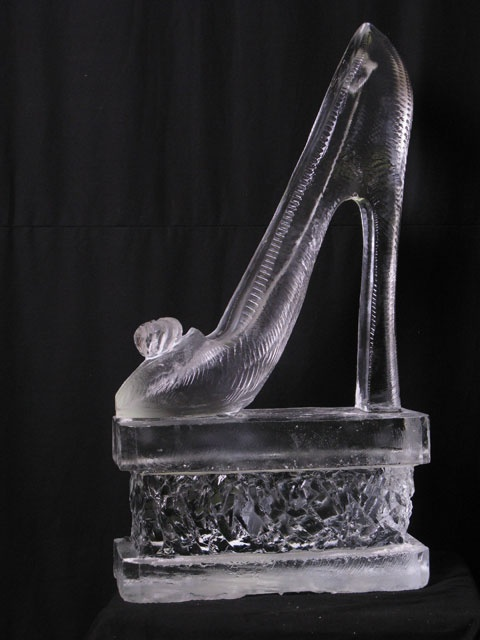 high heel shoe ice sculpture