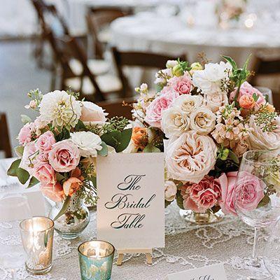 Romantic Vintage Centerpiece - Wedding Table Centerpieces