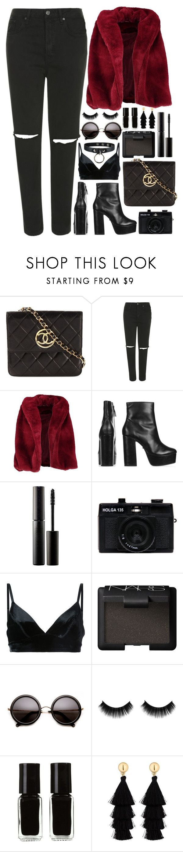 """Faux-fur coat & Black Boot & Quilted bag & Distressed boyfriend jeans & Tassel drop earrings."" by annaclaraalvez ❤ liked on Polyvore featuring Chanel, Topshop, Boohoo, Surratt, Holga, Manning Cartell, NARS Cosmetics, The New Black and Red Herring"