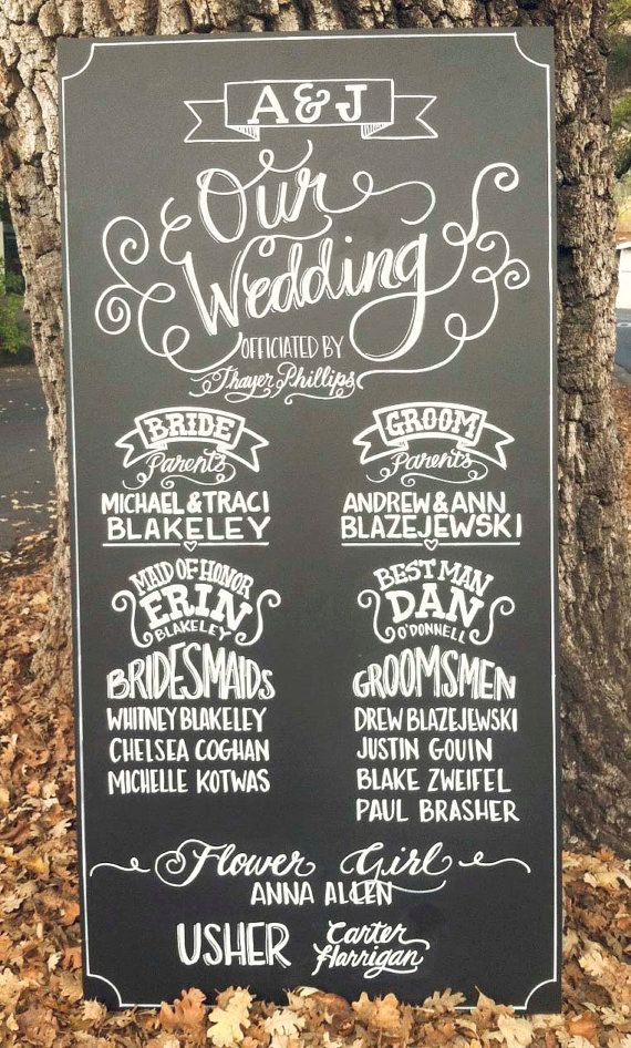 Wedding Party detail: chalkboard