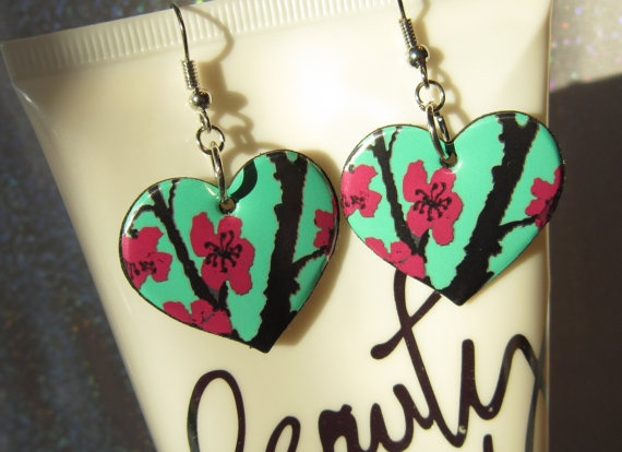 Pop Can Earrings Arizona Cherry Blossom Cute by MissMaggiesPlace, $10.00