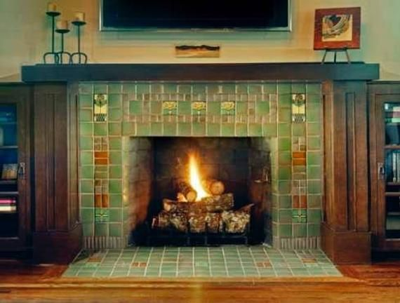 Antique Fireplace Mantel French Tile Hearth Frame Trim Decor Housewarming Arts Floral Ornamental Terra Cotta Tiles Blue Green Turquoise Craftsman Fireplace Fireplace Design Vintage Fireplace