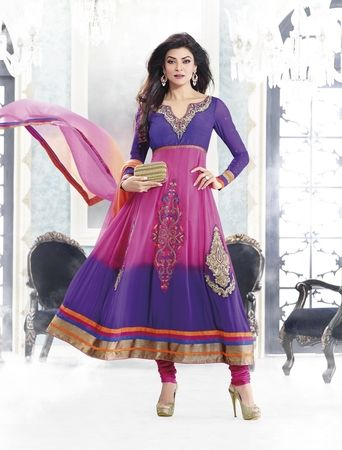 Sushmita Sen in Purple & Pink Color Bollywood Salwar Suit.