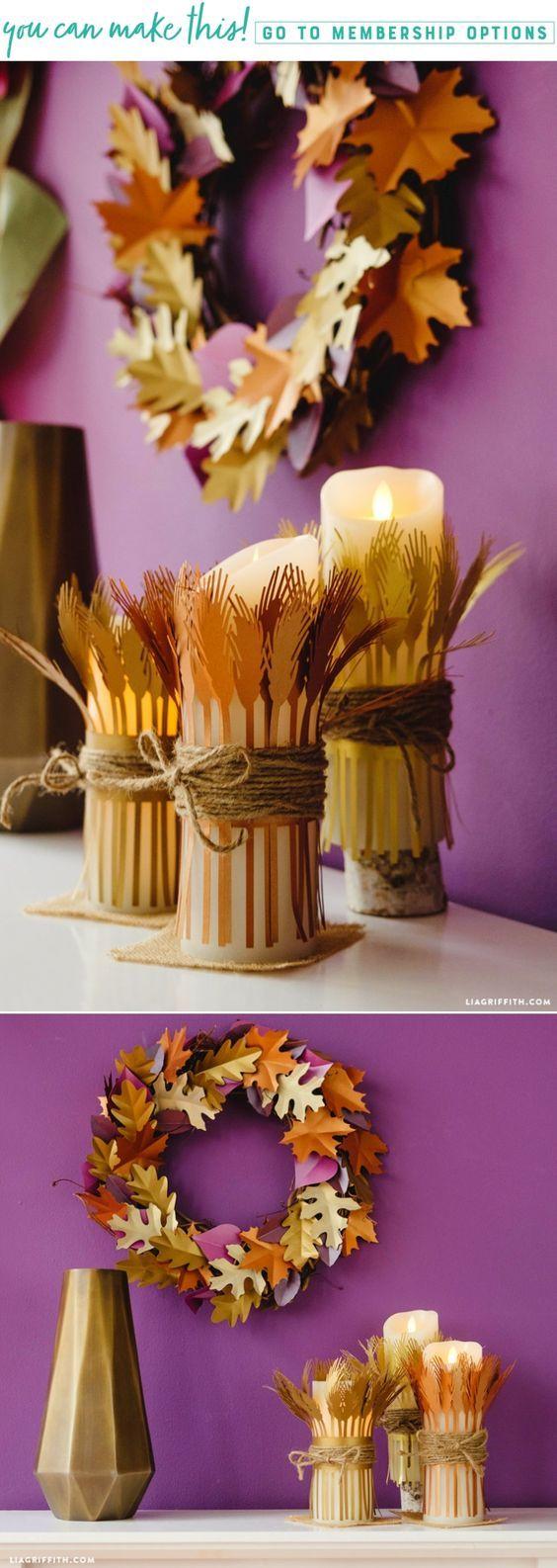 DIY Print then Cut Wheat Candle Wraps  www.LiaGriffith.com #Thanksgiving #CricutMade #SVGCutFiles #DIYFallIdeas #FallDIYIdeas