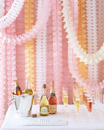 Inexpensive streamers look chic enough for a wedding (or special party) when hung en masse.
