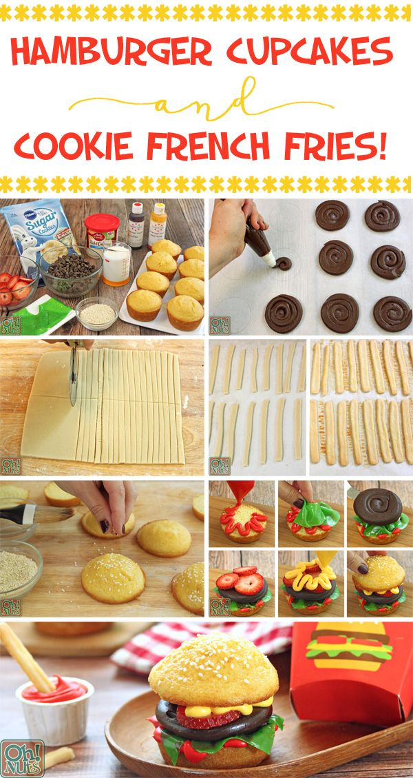 How to Make Hamburger Cupcakes and Cookie French Fries | From OhNuts.com