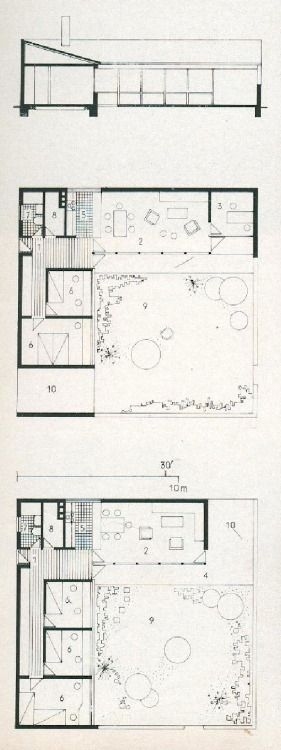 PLANS OF ARCHITECTURE  Jørn Utzon, Kingohusene, Helsingør, Denmark, 1957-1958