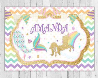 Sirena y unicornio fondo imprimible / mágico telón de fondo de cumpleaños
