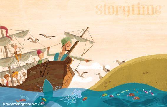 Join Sinbad on his adventures! Beautiful illustrations by Sebastia Serra (http://sebastia-serra.blogspot.co.uk) in Storytime Issue 17 ~ STORYTIMEMAGAZINE.COM