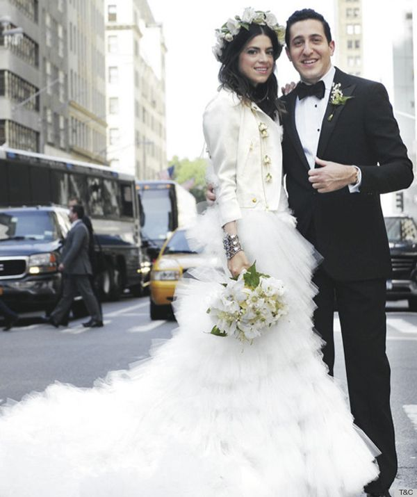 love it - white leather jacket for her wedding.