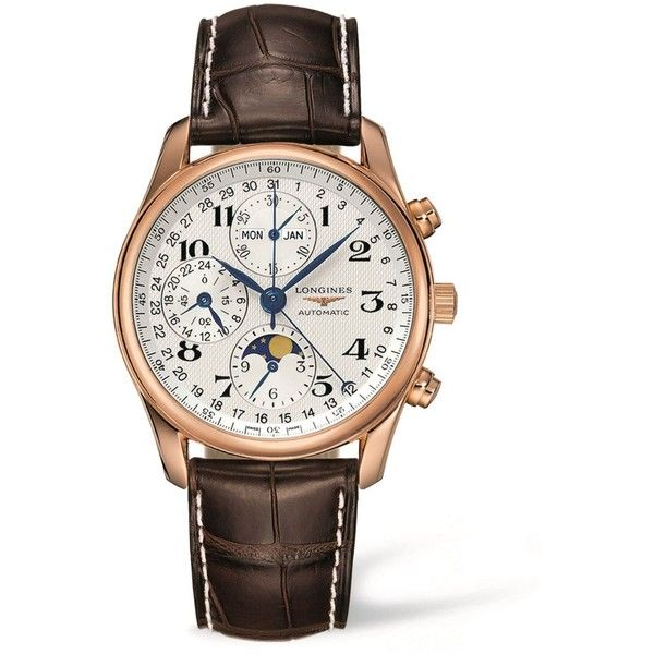 Longines Master Collection Chronograph Watch ($8,785) ❤ liked on Polyvore featuring men's fashion, men's jewelry, men's watches, longines mens watches, mens blue dial watches, mens rose gold watches and mens chronograph watches
