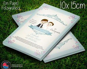 Convite Casamento Floral Blue 10x15cm