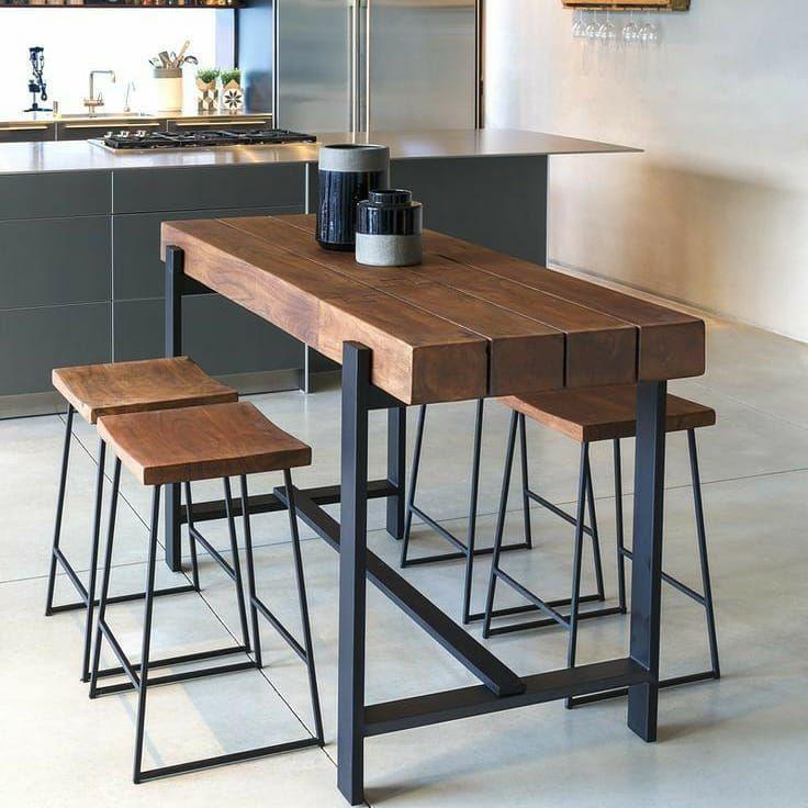 Mesa Alta Usada Na Cozinha No Espaco Gourmet Ou Na Decoracao De Bares A Mesa Alta Kitchen Furniture Design Metal Furniture Design Industrial Design Furniture