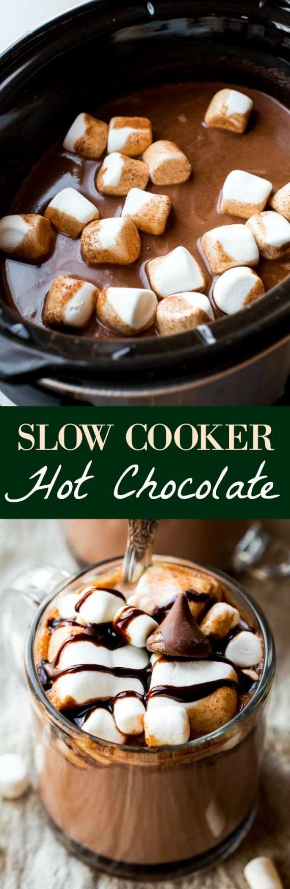 Thick and creamy slow cooker hot chocolate made easy in the crockpot!! Recipe on sallysbakingaddiction.com