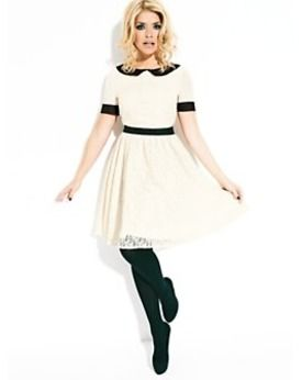 Holly Willoughby Lace Skirt Dress, Cream, Very