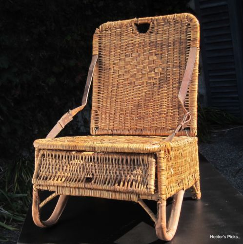 Vintage-Folding-Wicker-Canoe-Seat