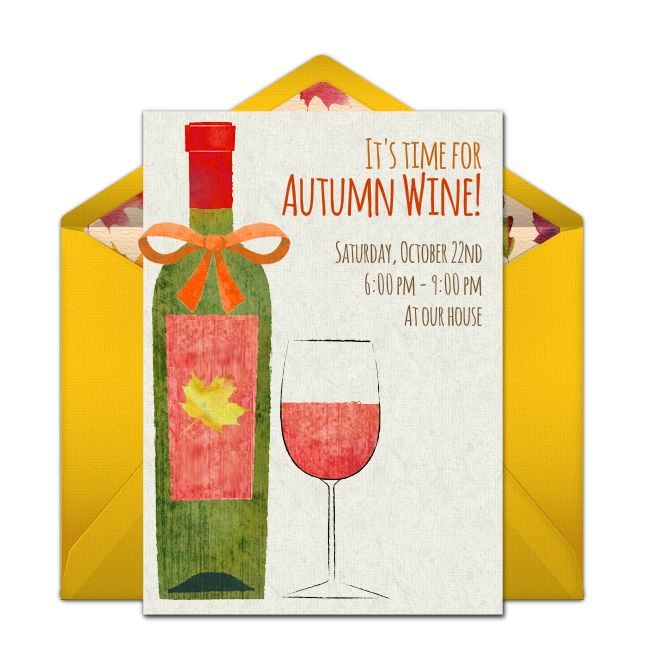 Free Autumn Wine Invitations