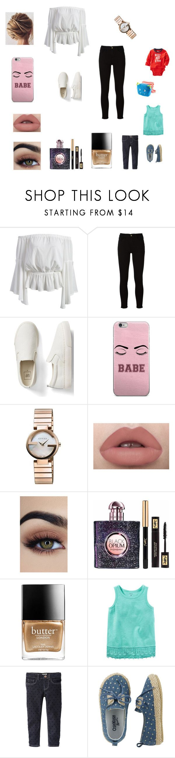 """Making late pancakes for the kids"" by bellzellz ❤ liked on Polyvore featuring Frame, Gap, Gucci, Yves Saint Laurent and Butter London"