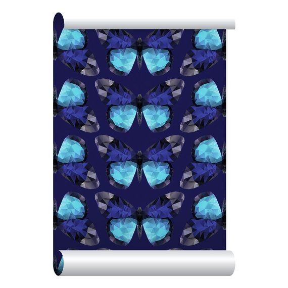 Self-adhesive Removable Wallpaper, Diamond Butterfly Wallpaper, Peel and Stick Repositional Fabric Wallpaper, Custom Design Wall Mural
