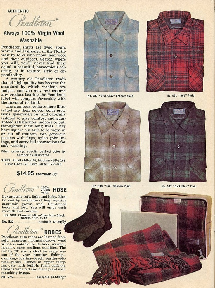 Great old 1960s Pendleton advert. Check out the OEM attire page to buy Pendleton Board shirts of a similar vintage! (No bathrobes, sorry) (Or socks).