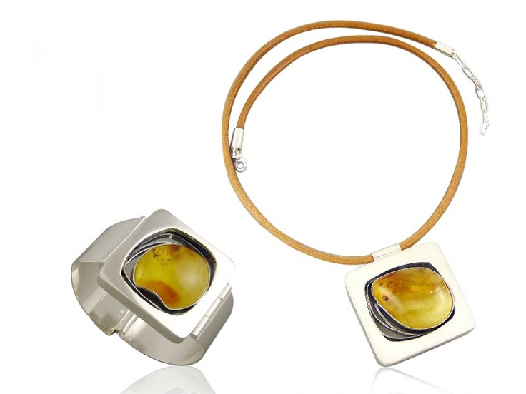 Silver art - handmade jewellery set with amber