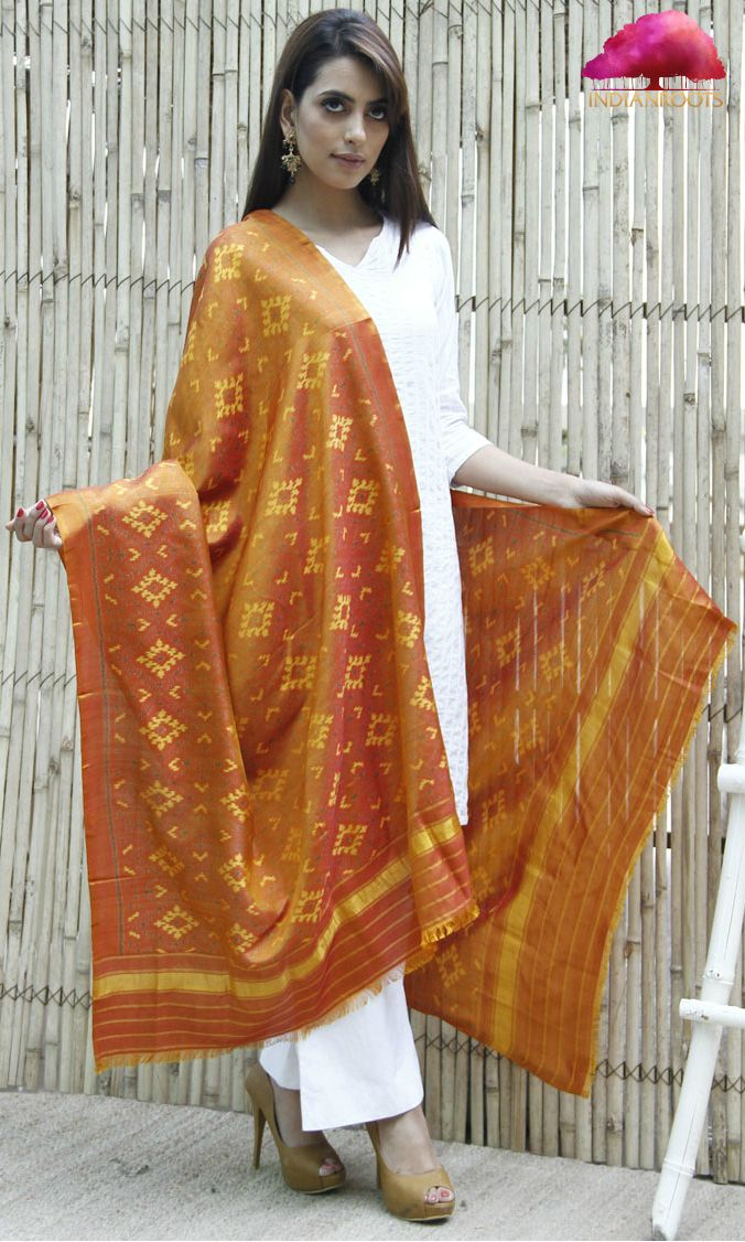 Mustard Pure Silk Patola Dupatta by Sankruti Silk at Indianroots.com