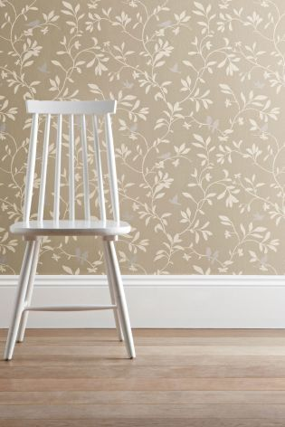 Buy Natural Bird Trail Wallpaper from the Next UK online shop