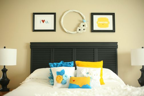 DIY headboard made out of shuttersDiy Ideas, Wall Decor, Old Shutters, Bedrooms Makeovers, Home Projects, Shutters Headboards, Master Bedrooms, Diy Headboards, Windows Shutters