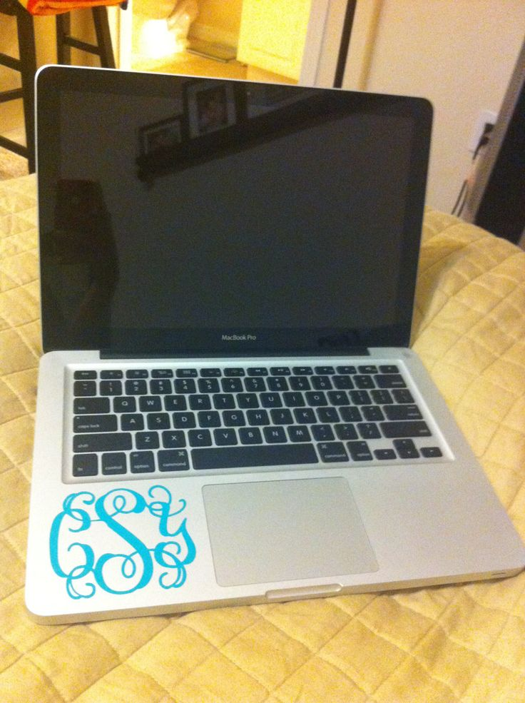 Vinyl Monogram Decal - 3 inch. $3.75, via Etsy. Good idea for college. Personalize your laptop