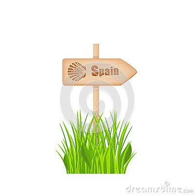 Camino de Santiago route scallop shells sign on the wooden arrow on the pole