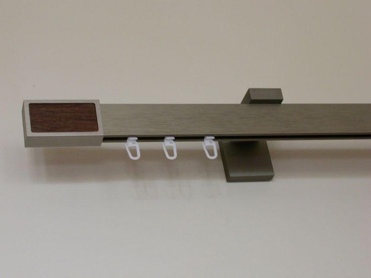 Modern szögletes rúdkarnis garnitúra, belső csúszású kampóval. Színek: acél hatású, alumínium, króm.