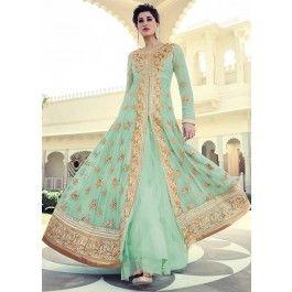 Nargis Sea Green and Gold Embellished Anarkali