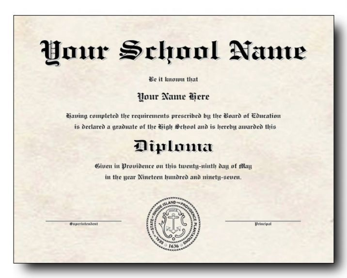Playful image inside printable high school diplomas
