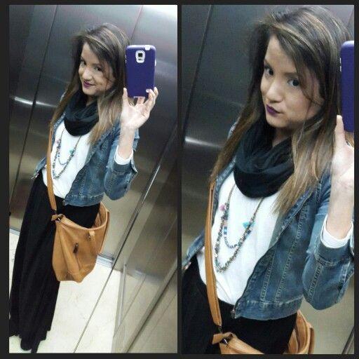 Make up. Black long skirt, jean coat. Purple lips