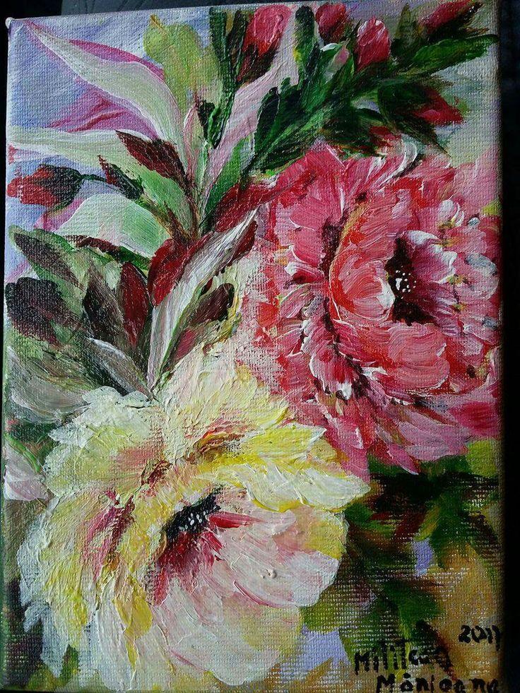 Trandafiri(20€) Tablou pictat pe panza Dimensiuni 18/13cm Disponibil