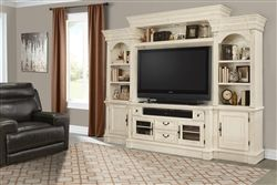 Fremont 4 Piece Entertainment Wall in Vintage Burnished White Finish by Parker House – FRE-100-4