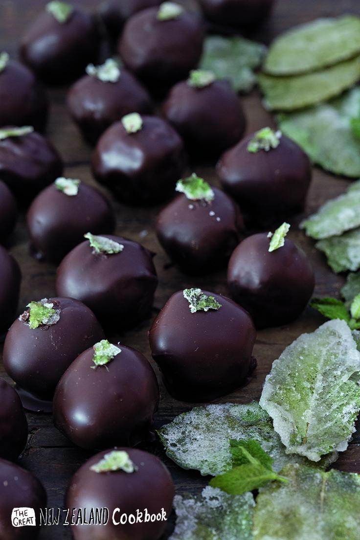 Bennetts of Mangawhai Garden Mint Truffle recipe featured in The Great NZ Cookbook