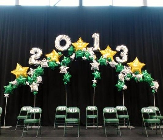 Stage backdrop for the students graduating