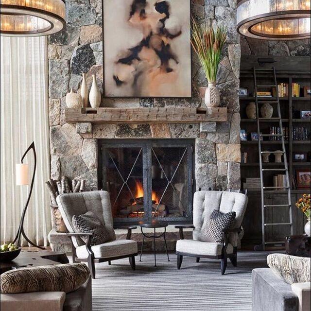 Tahoe Retreat #home #interiors #livingroom #familyroom #bethankful #fall2016 #rustichome #laketahoe #interiordesign #fireplacedecor #roomoftheday