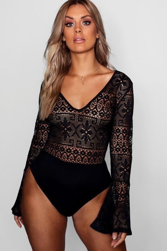 e4f2097d8d Plus Crochet Long Sleeve Bodysuit in 2019