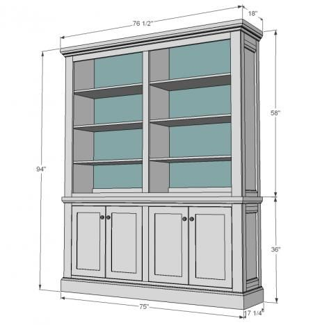 Free step by step plans to build a Restoration Hardware inspired hutch. Free plans from Ana-white.com features large, deep shelves, decorative sides and crown moulding.