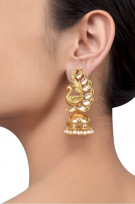 Silver Gold Plated Textured Peacock Crystal Pearl Jhumki: