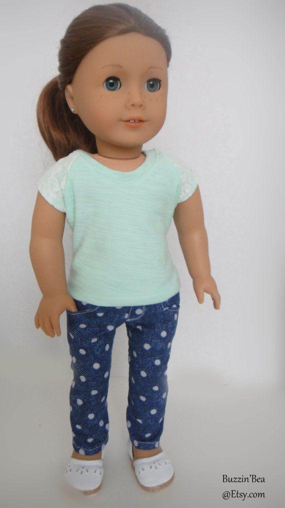 Polka Dot Skinny Pants American Girl Doll Clothes by BuzzinBea